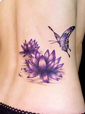 tattoo papillon. tatouage papillon fleur.