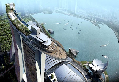 Magnifica vista desde el Skypark Sands en el hotel Marina Bay Sands