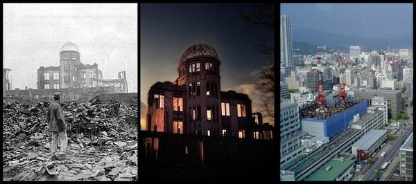 Hiroshima destruida y en la actualidad