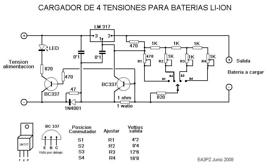 avi paco esquema cargador de baterias li ion para 4 tensiones
