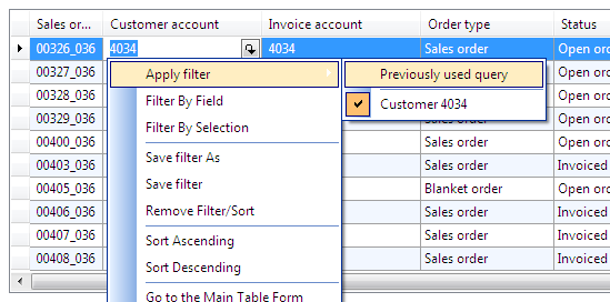 Dynamics Ax filter by field