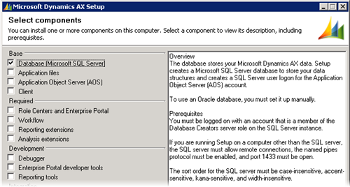 Dynamics AX 2009 Setup - Database
