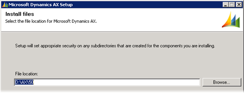 Dynamics AX 2009 Setup - Application files Location