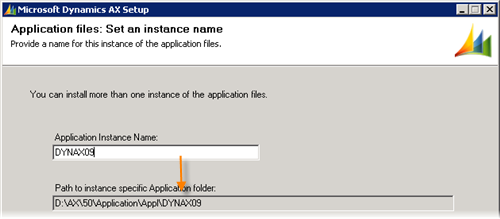 Dynamics AX 2009 Setup - Application files Instance name