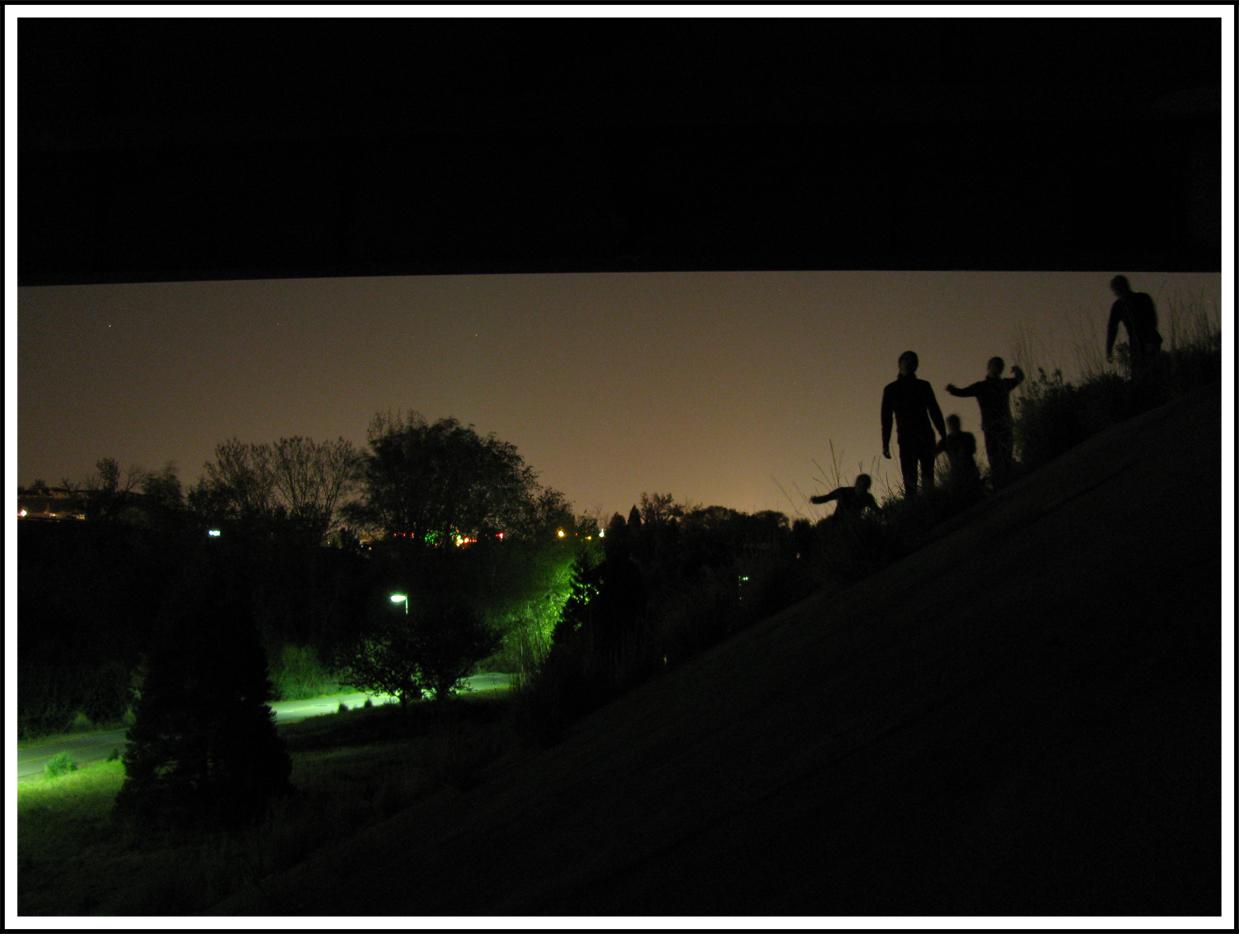 Zombie Horde Silhouette Of a walking zombie horde.