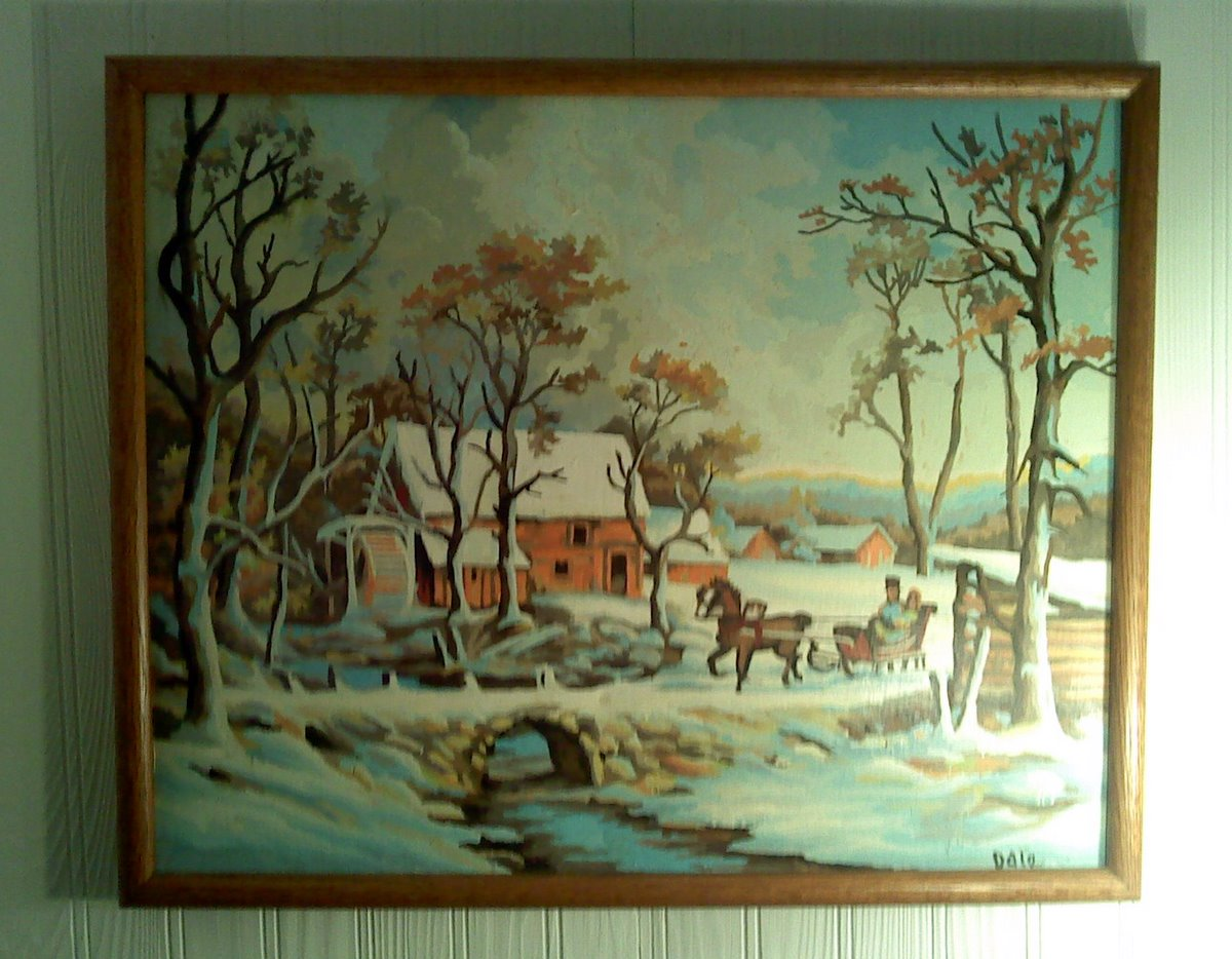 Cabin has a christmas tree motif most of these paintings all found