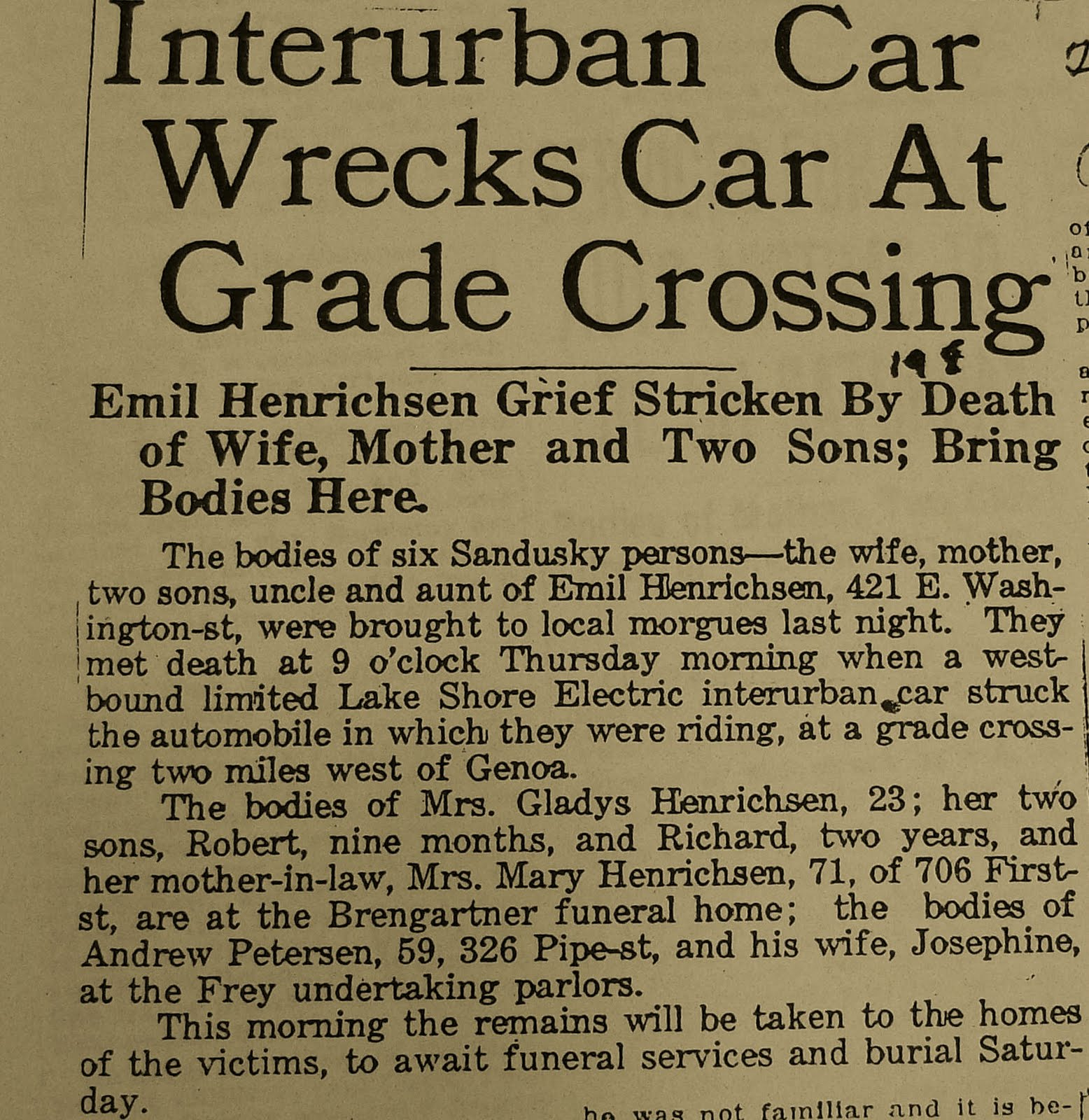 A Tragic Accident Took The Lives Of Six Sandusky Residents On Morning June 19 1924 In Genoa Ohio Emil Henrichsens Mother Wife And Two Young