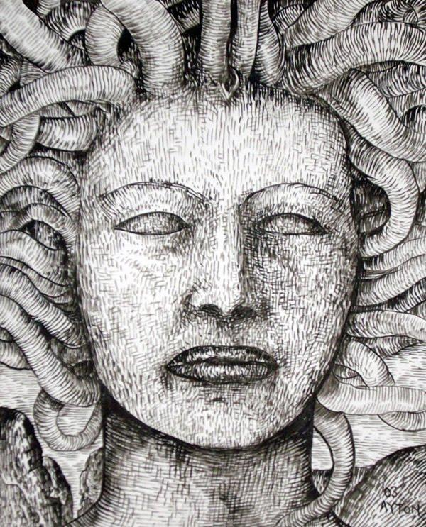 Medusa Greek Mythology Drawing Medusa 2003 Brush Ink on