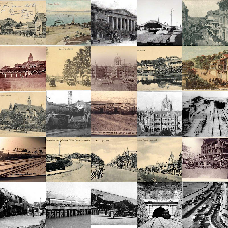 collage made up of old photographs of Mumbai,then known as Bombay.