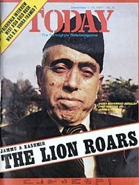 Sheikh Abdullah on cover of India Today