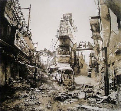 "Post Apocalyptic ""Revelation-Ameyoko Ⅰ"" 44.5×50.5㎝ lithograph 2004"