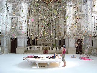 Falling Garden, an installation at San Staë church by Gerda Steiner & Jorg Lenzlinger.