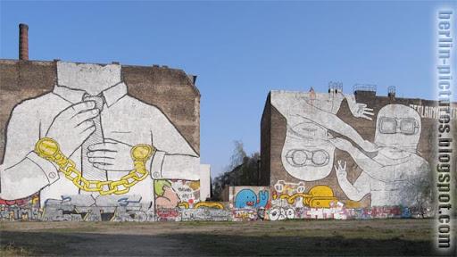 Mural Art by Street Artist Blu in Berlin-Kreuzberg, Germany