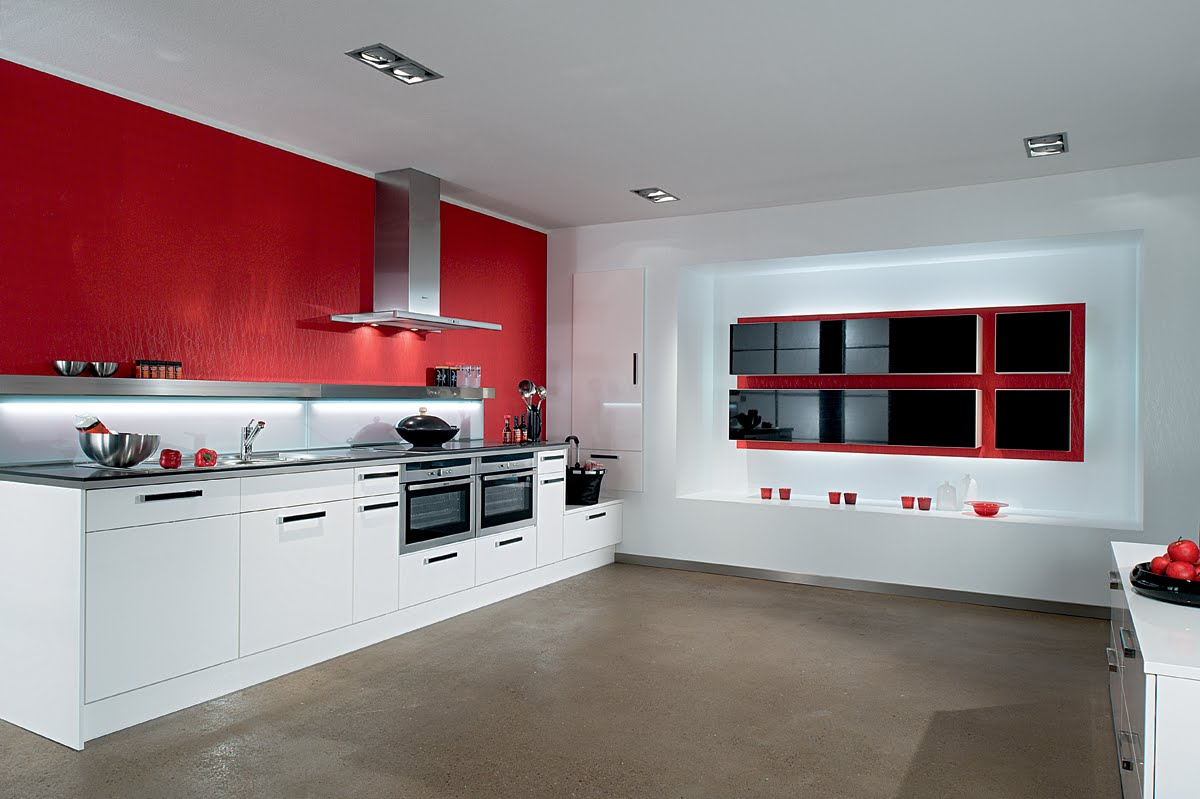 Красно белая кухня интерьер