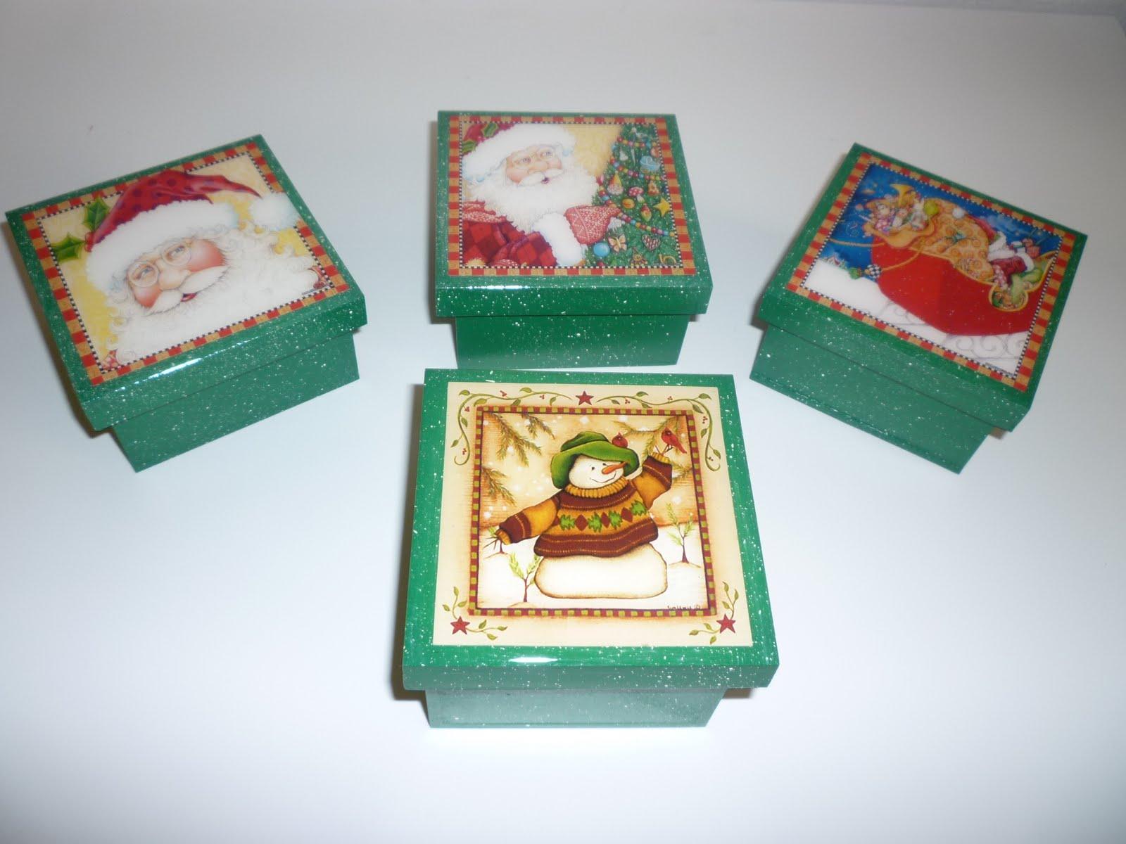 Manualidades en mdf y vitral cajas de navidad 8x8 - Cajas para manualidades ...
