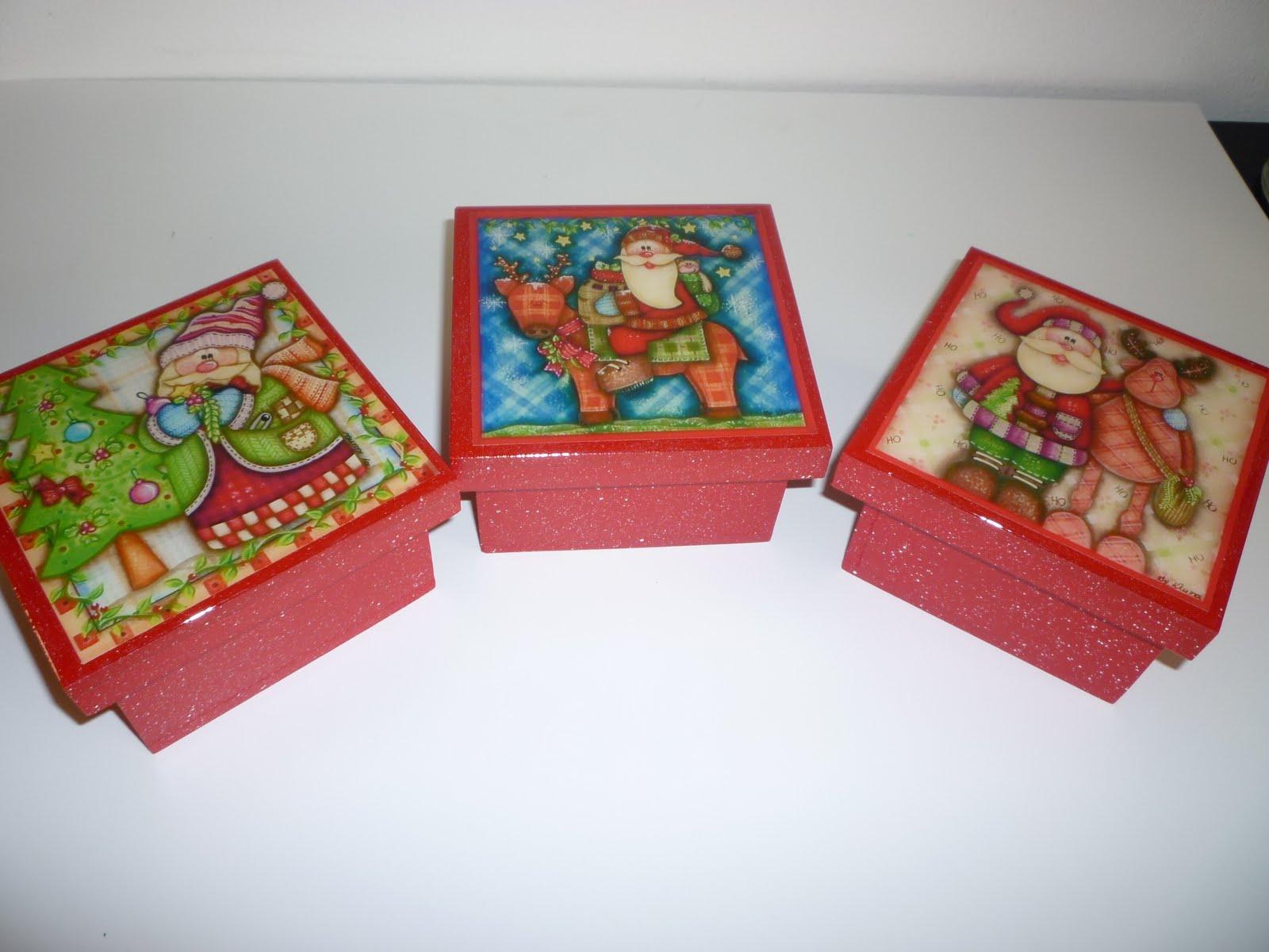 Manualidades en mdf y vitral cajas de navidad 10x10 - Cajas para manualidades ...