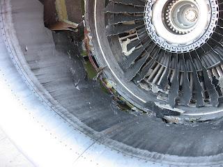 Damage to No. 2 engine