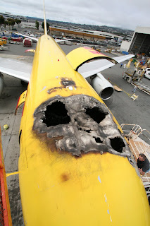 Fire-damaged ABX Air B767 at SFO