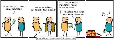 Quadrinhos engraçados - Vendendo balas.