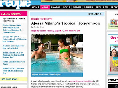 Lua-de-mel de Alyssa Milano e David Bugliari