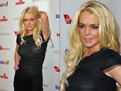 Vestido transparente Lindsay Lohan
