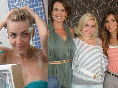 Monique Alfradique tomando banho em comercial