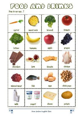 Ve a este link y practica el nombre de algunos alimentos en inglés y