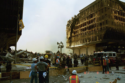 WTC5, 9/13/01, hit by the North Tower and consumed by fire, yet still standing