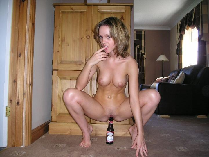 naked girl beer bottles
