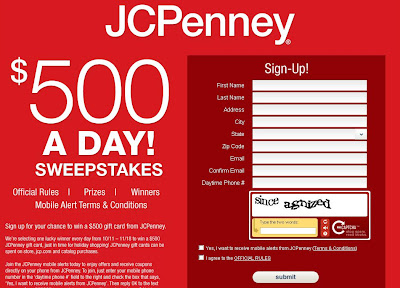 win JCP Gift card at www.jcp500.com or www.jcp.com/500