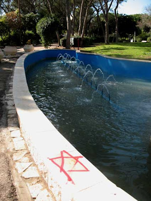 Vandalism Red Star of David