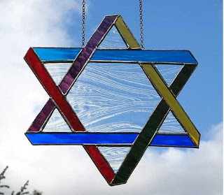 Fresh looking Stained Glass six-pointed star Art