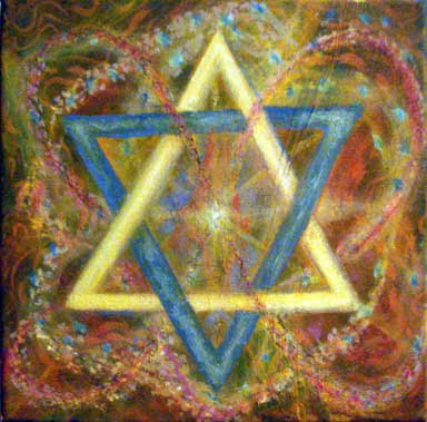 Israeli art Magen David joyful painting