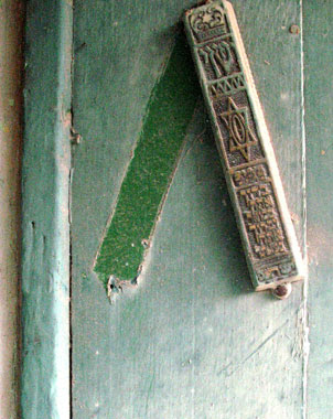 Star of David on an old Mezuzah