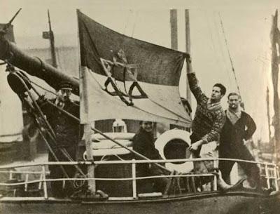 מגן דוד על הדגל של אוניית צי סוחר עברי הראשונה