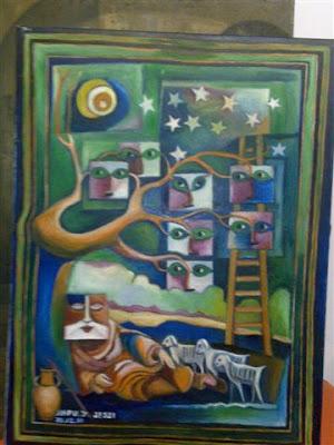 סולם יעקב  צייר: יהושע אקפו (ג'סי) (ז''ל) 1937 - 2001  © כל הזכויות שמורות למגי אקפו-פרז (בתו של האמן)