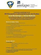 """XX ENCUENTRO LATINOAMERICANO DE POETAS """"JOSÉ SARAMAGO Y JAIME SABINES"""""""