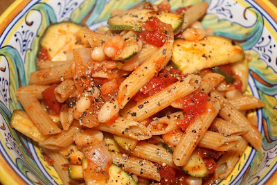 Whole Wheat Penne with Tomato Zucchini Sauce and White Beans