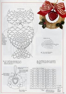 receita de coração em croche para guirlanda natalina