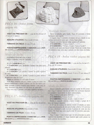 receitas de três bolsas em croche
