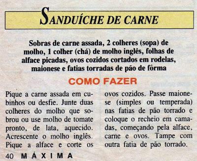 RECEITA DE SANDUICHE DE CARNE