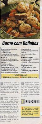 RECEITA DE CARNE COM BOLINHOS