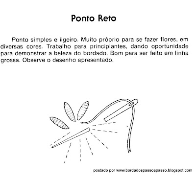 PONTO RETO EM BORDADO