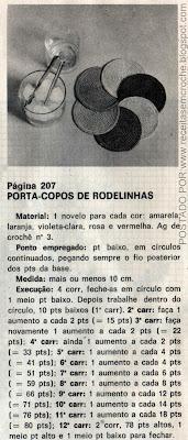 RECEITA DE PORTA COPOS COLORIDOS EM CROCHE