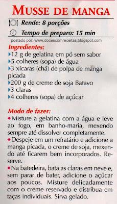 RECEITA DE MUSSE DE MANGA