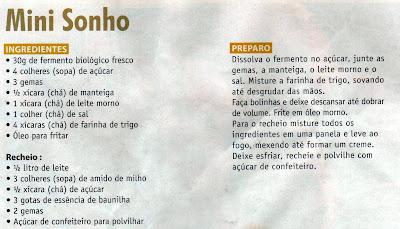 RECEITA DE MINI SONHO
