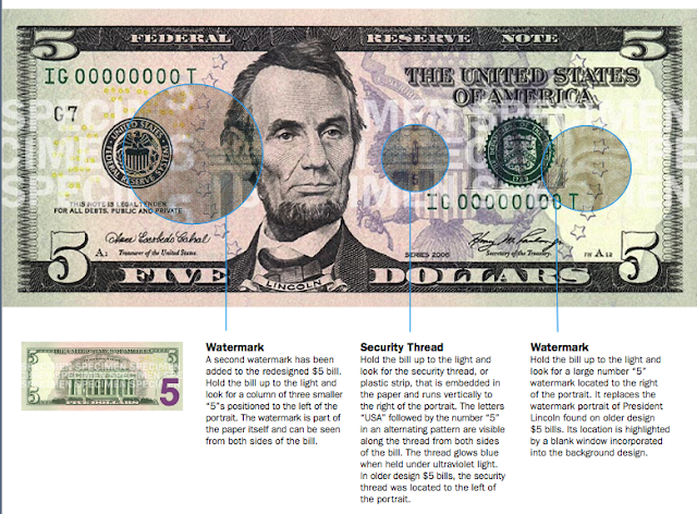 United States currency5 bill  On the back of the bill a larger purple number 5 appears in the lower  Five dollar Treasury or Coin Notes