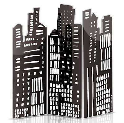 city skyline cartoon. A City Skyline screen and