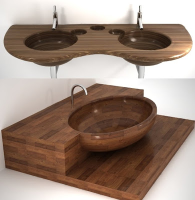 Bathroom Sink on If It S Hip  It S Here  Modern Waterproof Wood Sinks And Tubs From Uwd