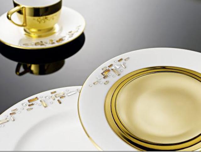 Prouna jewels swarovski clad luxury bone china dinnerware for Diana dishes